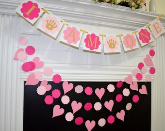 I am one banner and garland set, 1st Birthday banner, baby's first birthday, birthday banner, birthday party decor pink gold rose gold decor