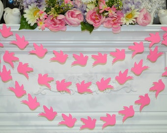 Wedding dove garland, baby shower decor, paper dove garland, love birds garland, dove decorations, dove backdrop, dove