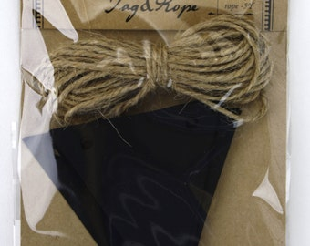 Set of 20 Chalkboard paper triangle Tags with 5 yard jute twine.Great for gifts, favors, rustic primitive decorations.(CBT7859C)