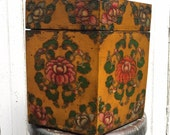 Antique hand painted hat box