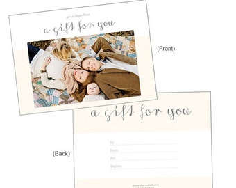 Photography Gift Certificate Template: Customizable 5x7 Gift Certificate Template - Instant Download