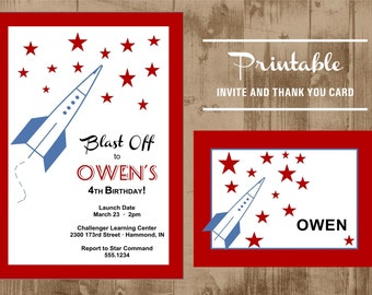 Blast Off Rocket Printable Invite and Thank you Note - Outer Space party
