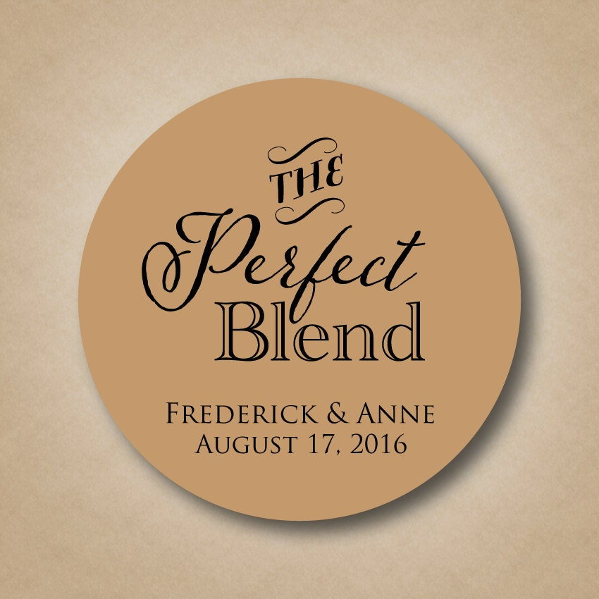 The perfect blend sticker wedding coffee favor label sticker for Stickers for wedding favors