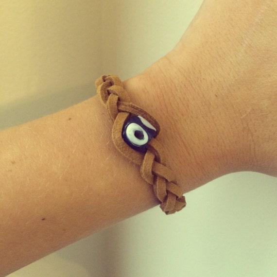 Faux Leather Braided Evil Eye Bracelet