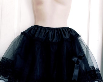 "16"" Two Layers Black Gothic Lolita Skirt"
