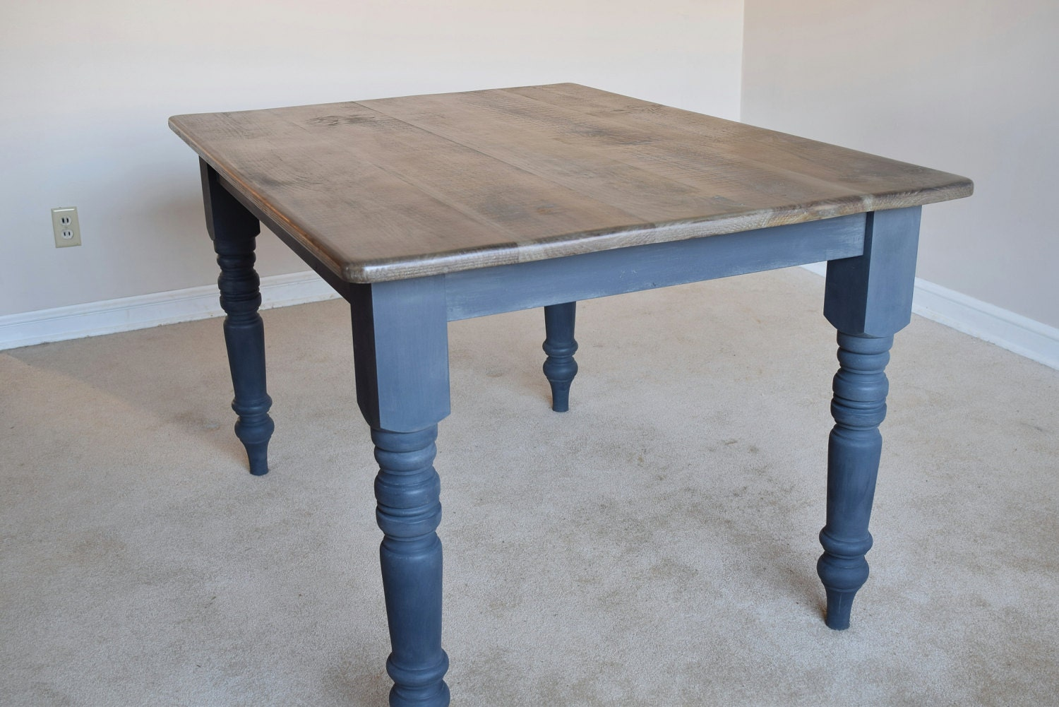 Rustic farm table kitchen dining table gray wash top zoom geotapseo Images