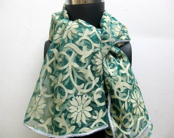 Net scarf,lace scarf,floral,large scarf in bluish green color.