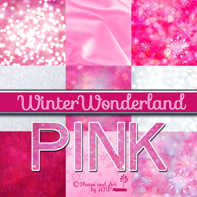 Winter Wonderland Pink Digital Scrapbook Paper Bokeh