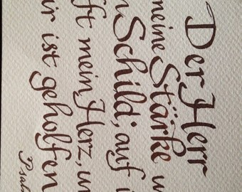Auf Deutch, Deutsch Bibel-Vers-, German Bible Verse, Psalm 28  Hand written Any Colors No Extra Charge 5 x 7 inch paper Original NOT PRINTED