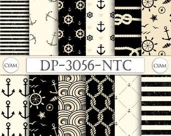DP-3056-NTC Vintage Black Cream NAUTICAL Digital Paper: Instant Download. Vintage Nautical background
