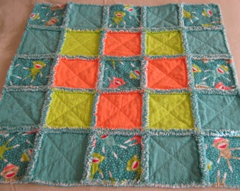 NOW ON SALE!!!!  Sock Monkey flannel rag quilt lovey / security blanket