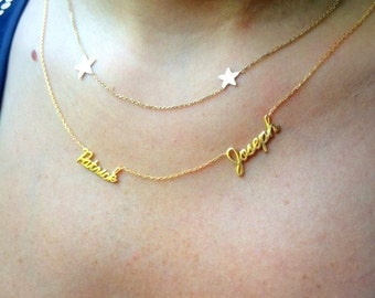 Gold Two Name Necklace ~ Personalized Necklace - Gold Multiple Name Necklace - Name Necklace - Silver Multiple Name - Mother's Day Gifts