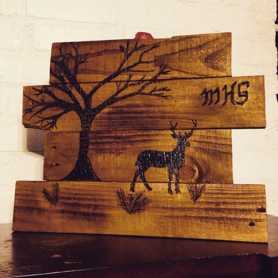 Handmade Rustic Wall Decor : Custom rustic deer wall decor free hand wood by