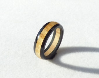 ebony & olive wood ring