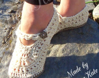 Crochet Mary Jane Style Cotton Slippers