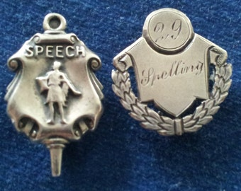 Vintage Sterling Spelling Award Pin, Vintage Sterling School Award Pins