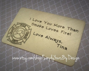 Custom Wallet Card - Metal Wallet Insert - Personalized Wallet Card - IAFF Firefighter Gift - Firefighter Valentines Present