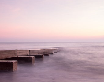 Long Exposure Sunrise Over Lake Michigan Old Pier at Big Bay Park Milwaukee Fine Art Photo Print Home Wall Decor by Rose Clearfield on Etsy