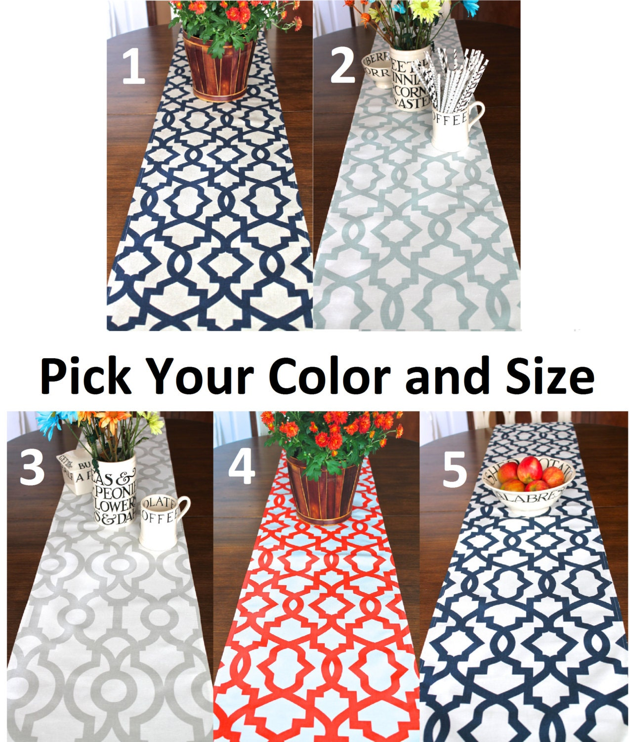 Kitchen Makeover For About 100 Give Your Orange Oak: TABLE RUNNER NAVY Blue Tan Khaki Red Orange White Spa Blue