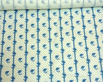 BTY 18th Century Repro Hand-Blocked Fabric ~ white with blue floral stripe and spots 1750-1780s ~ by the yard ~ Rev War clothing (FAB-BFB)
