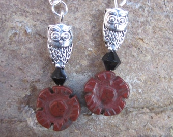 bohemian earrings Hoot owl earrings carved jasper stone flower earrings black silver bicone bead  bohemian country chic Halloween earrings