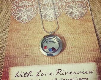 Small Floating Locket, Personalized and Hand Stamped