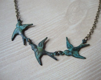 Tris - Divergent Inspired Beatrice Prior Bird Necklace with Antiqued Brass Green Patina Birds - Tattoo Birds Dauntless Abnegation