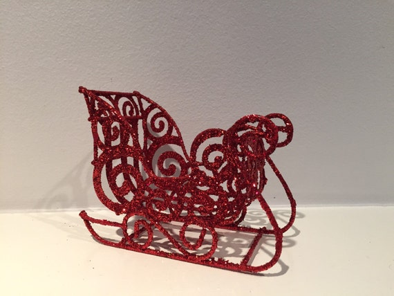 Metal Poinsettia Sleigh Decor
