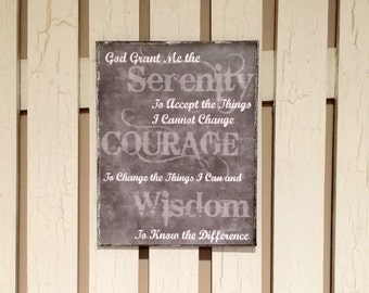 Inspirational -  Serenity Prayer Chalkboard Like Print Mounted on 11 x 14 Canvas - Inspirational Art - Recovery Art - Spiritual Art - NA Art