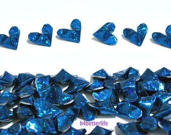 100pcs Blue Color Medium Size 3D Origami Hearts. 'LOVE'. (4D Glittering paper series). #FOH-156.