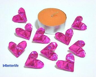 100pcs Pink Color Medium size 3D Origami Hearts. 'LOVE'. (4D Glittering paper series). #FOH-115.