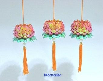 Lot of 3pcs Size Small Dark Orange Color Origami Hanging Lotus. (TX paper series). #FLT-147.