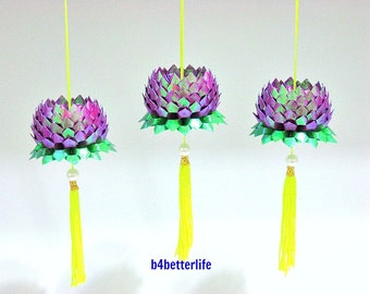 Lot of 3pcs Size Small Purple Color Origami Hanging Lotus. (TX paper series). #FLT-28.