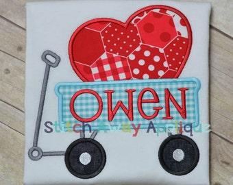 Valentine Heart Wagon Machine Applique Design