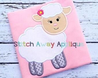 Lamb Girl Easter Machine Applique Design