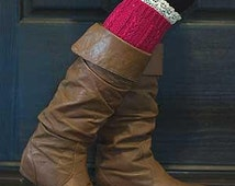 Monogrammed Lace top short boot cuff