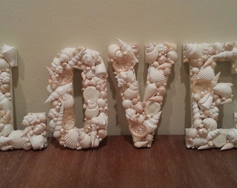 Beach Decor, Shell Letters, Seashell Letters, Home Decor, Coastal Decor, Nautical Decor, ONE Shell Letter