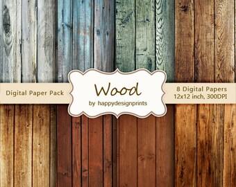 "Vintage Old Wood Board Digital Paper Pack of 8, 300 dpi, 12""x12"" Instant Download Pattern Paper Scrapbooking, Invites, Cards JPG"