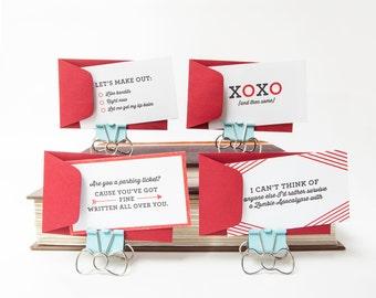 Set of four letterpressed love notes