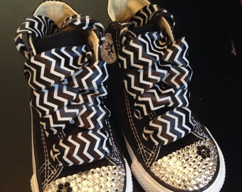Black Chevron High top Bling Converse with Black Flower