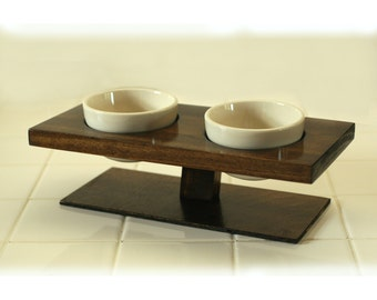 Designer small dog or cat elevated food bowl set floating walnut double feeder
