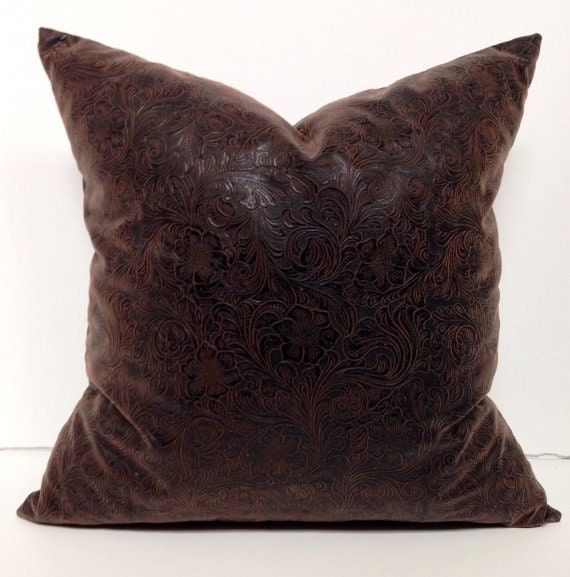 Brown Faux Embossed Leather Decorative Pillow Cover Accent