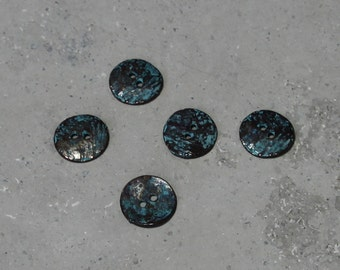5 Copper Green Patina Buttons