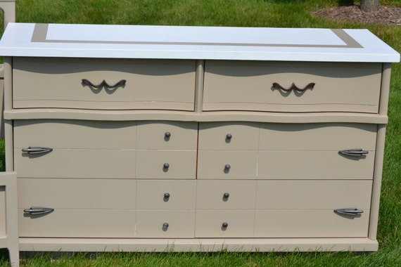 Items similar to sold dresser mcm 6 drawer kahki and white for Matching bed and dresser