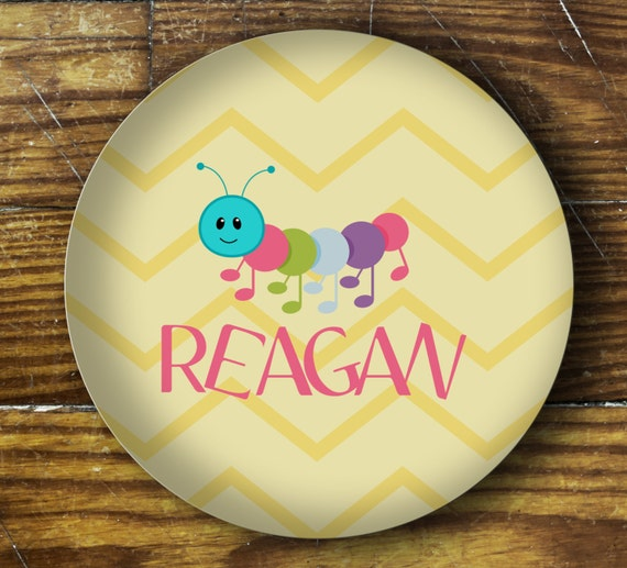 Personalized Dinner Plate or Bowl - Caterpillar