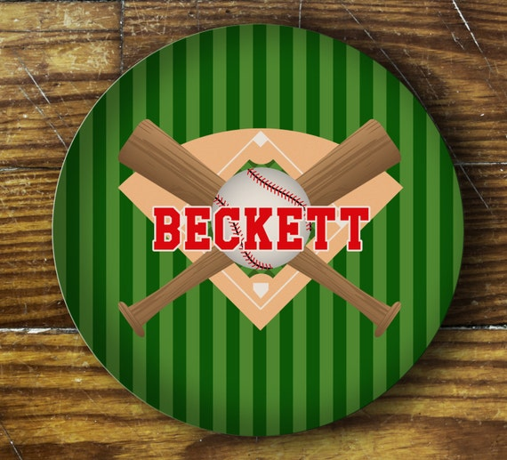 Personalized Dinner Plate or Bowl-Baseball