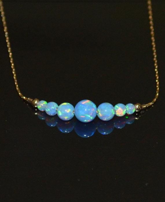 blue opal necklace tiny opal dot necklace simple dainty
