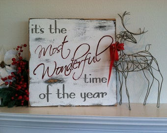 "Large Christmas Sign - It's the most Wonderful time of the year /24x24""/hand painted wooden/ Christmas Holiday decor/ white, gray, red"