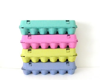 6 Recycled Paper Pulp Easter Egg Cartons, Choose Your Colors: Pink, Lime Green, Blue, Teal