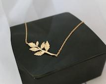Gold Leaf Necklace, Sideways Leaf, Tree Stem, Simple, Wedding, Bridesmaid Gift